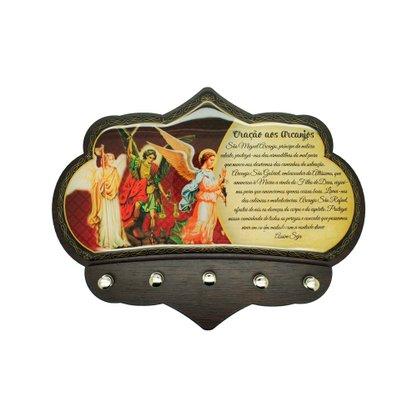 Porta Chaves Arcanjos em MDF Resinado 16 cm