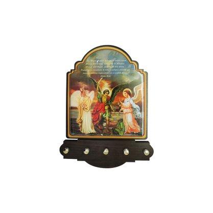 Porta Chaves Arcanjos Modelo Provençal em MDF Resinado 21 cm
