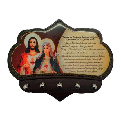 Porta Chaves do Sagrado Coração de Jesus e Imaculado Coração de Maria em MDF Resinado 16 cm