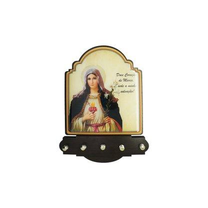 Porta Chaves Imaculado Coração de Maria Modelo Provençal em MDF Resinado 21 cm