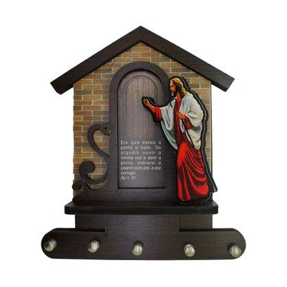 Porta Chaves Jesus Bate na Porta 3D MDF Resinado - 20cm