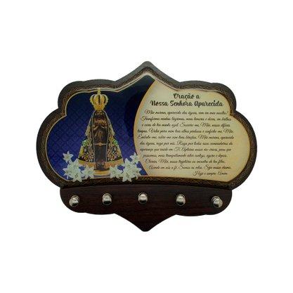Porta Chaves Nossa Senhora Aparecida em MDF Resinado 16 cm