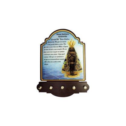Porta Chaves Nossa Senhora Aparecida Modelo Provençal em MDF Resinado 21 cm