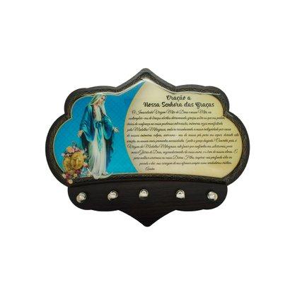 Porta Chaves Nossa Senhora das Graças em MDF Resinado - 16cm