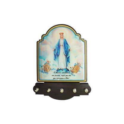 Porta Chaves Nossa Senhora das Graças Modelo Provençal em MDF Resinado 21 cm