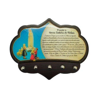 Porta Chaves Nossa Senhora de Fátima em MDF Resinado - 16cm
