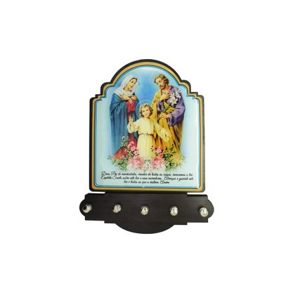 Porta Chaves Sagrada Família Modelo Provençal em MDF Resinado 21 cm