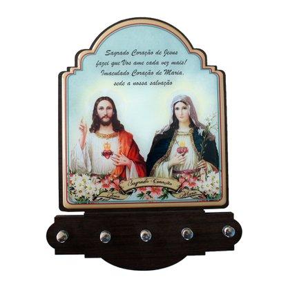 Porta Chaves Sagrado Coração de Jesus e Imaculado Coração de Maria Modelo Provençal em MDF Resinado 21cm