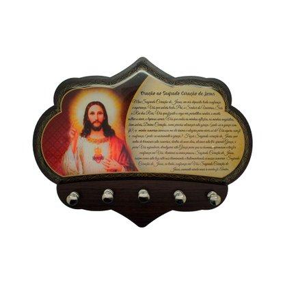 Porta Chaves Sagrado Coração de Jesus em MDF Resinado 16 cm