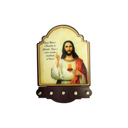 Porta Chaves Sagrado Coração de Jesus Modelo Provençal MDF Resinado 21 cm