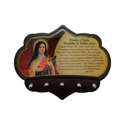 Porta Chaves Santa Terezinha do Menino Jesus em MDF Resinado 16 cm