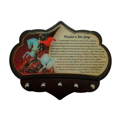 Porta Chaves São Jorge em MDF Resinado 16 cm