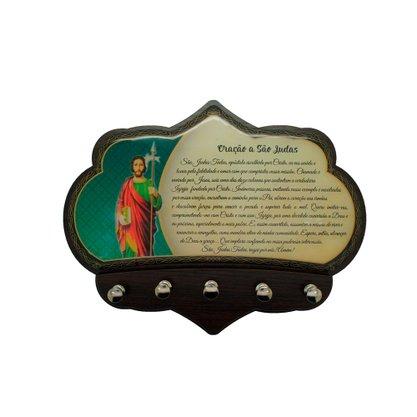 Porta Chaves São Judas Tadeu em MDF Resinado 16 cm