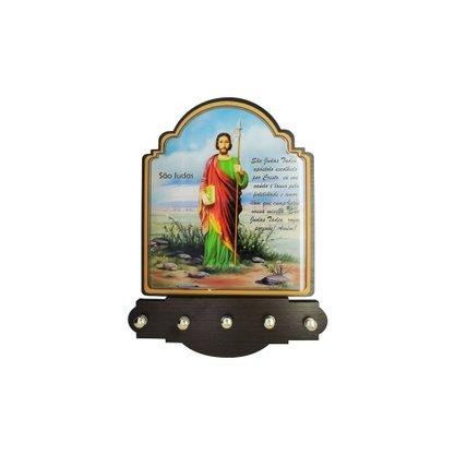 Porta Chaves São Judas Tadeu Modelo Provençal em MDF Resinado 21 cm
