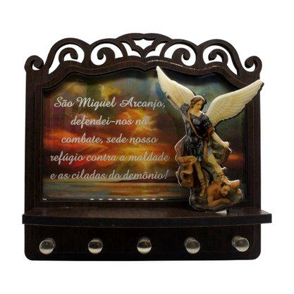 Porta Chaves São Miguel Arcanjo 3D Madeira Resinada - 18cm