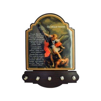 Porta Chaves São Miguel Arcanjo Modelo Provençal em MDF Resinado 21 cm