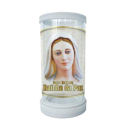 Porta Vela em Vidro e Mármore Nossa Senhora Rainha da Paz - 18cm