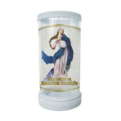 Porta Vela em Vidro e Mármore Nossa Senhora da Conceição - 18cm