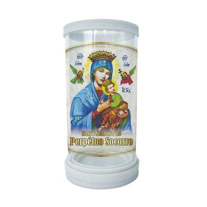 Porta Vela em Vidro e Mármore Nossa Senhora do Perpétuo Socorro - 18cm