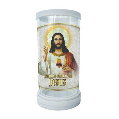 Porta Vela em Vidro e Mármore Sagrado Coração de Jesus 18cm