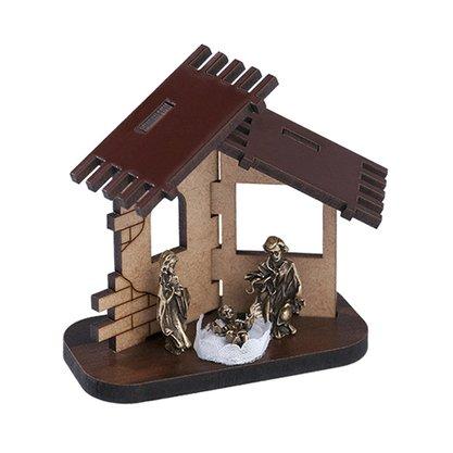 Presépio Casinha MDF com Sagrada Família em Ouro Velho
