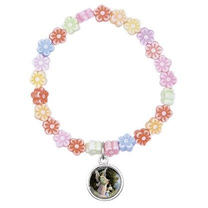 Pulseira Infantil Flores Coloridas e Medalha do Anjo da Guarda