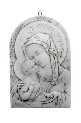 Quadro Nossa Senhora com Menino Jesus em Mármore 29cm