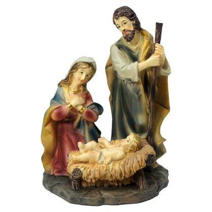 Resina Importada Sagrada Família com Manjedoura 15cm