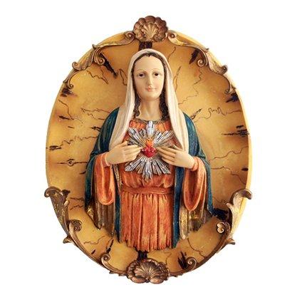 Resina importada Sagrado Coração de Maria prato 35 cm