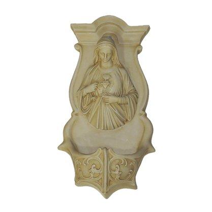 Resina Nacional Pia Sagrado Coração de Maria em Marfim - 40cm