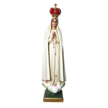 Resina Nacional Nossa Senhora de Fátima com Olhos de Vidro e Coroa em Metal - 120cm