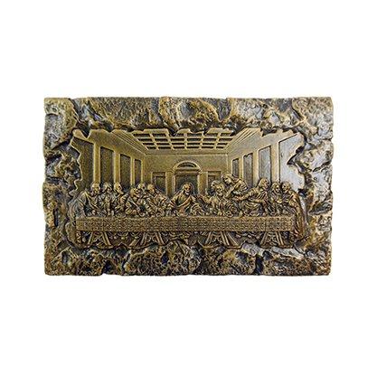 Santa Ceia em Mármore com Pintura em Bronze 9cm