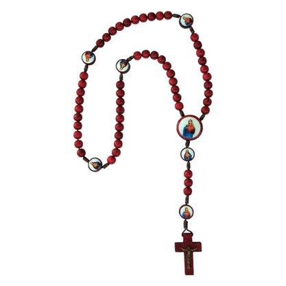 Terço Sagrado Coração de Jesus e Maria Madeira 8mm