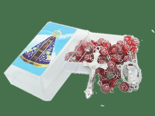 Terço Nossa Senhora Aparecida Botão de Rosa Vermelho Caixa