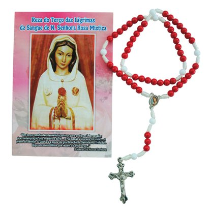 Terço Nossa Senhora Rosa Mística com Oração Pacote c/6un