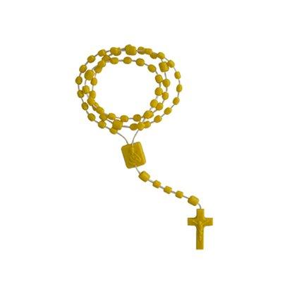 Terço Nylon Amarelo Leitoso Entremeio Sag Coração de Jesus e Nossa Senhora Aparecida 35cm Comprimento  Preço da dúzia