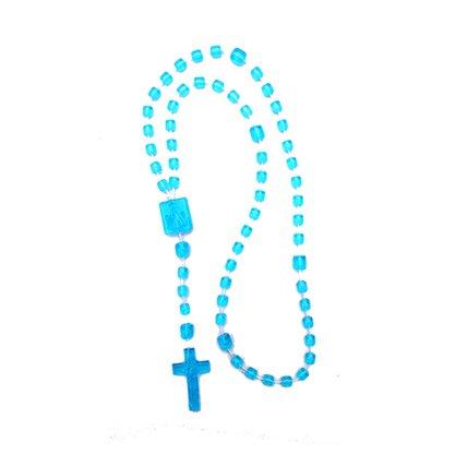 Terço Nylon Azul Claro Grande - a dúzia