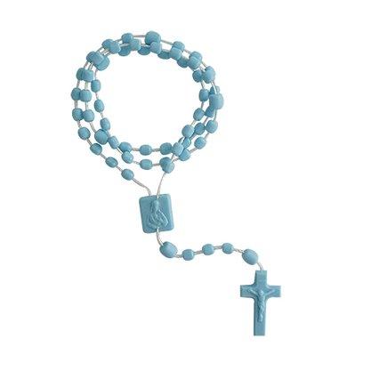 Terço Nylon Azul Leitoso Entremeio Sag Coração de Jesus e Nossa Senhora Aparecida  34cm Comprimento  Preço da dúzia