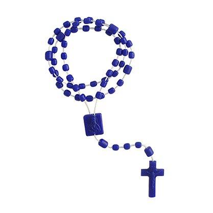 Terço Nylon Azul Escuro Leitoso Entremeio Sag Coração de Jesus e Nossa Senhora Aparecida  34cm Comprimento  Preço da dúzia