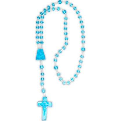 Terço Nylon Azul Claro Translucido Entremeio Sag Coração de Jesus e Nossa Senhora Aparecida  27cm Comprimento  Preço da dúzia