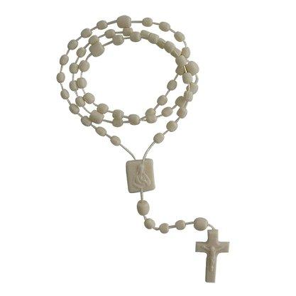 Terço Nylon Bege Leitoso Entremeio Sag Coração de Jesus e Nossa Senhora Aparecida  34cm Comprimento  Preço da dúzia