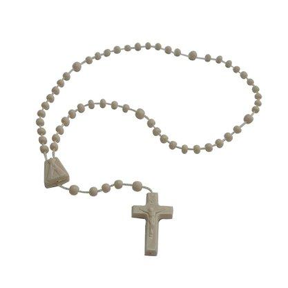 Terço Nylon Bege Leitoso Entremeio Sag Coracao de Jesus e Nossa Senhora Aparecida  27cm Comprimento  Preço da dúzia