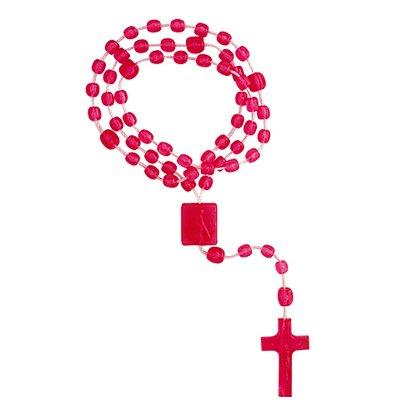 Terço Nylon Rosa Translucido Entremeio Sag Coração de Jesus e Nossa Senhora Aparecida  27cm Comprimento  Preço da dúzia