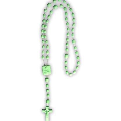 Terço Nylon Verde Claro Leitoso Entremeio Sag Coração de Jesus e Nossa Senhora Aparecida  34cm Comprimento  Preço da dúzia