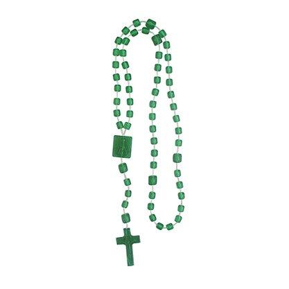 Terço Nylon Verde Escuro Translucido Entremeio Sag Coracao de Jesus e Nossa Senhora Aparecida 34cm Comprimento  Preço da dúzia