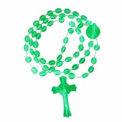 Terço São Bento  Nylon Verde Translucido  40 cm Preço da dúzia