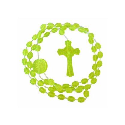 Terço São Bento Nylon Verde Limão Translucido 40 cm Preço da dúzia