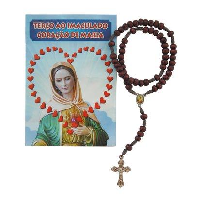 Terco Sagrado Coração de Maria Cruz Metal Oracao