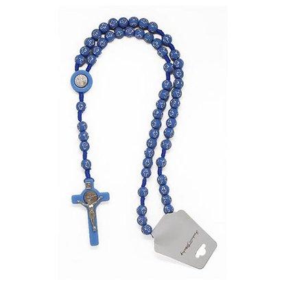 Terço São Bento Conta Cruz  - Azul Claro - Unidade