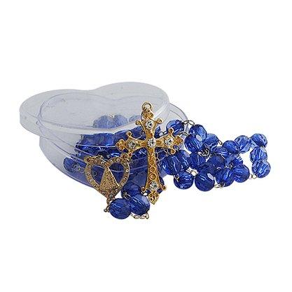 Terco Nossa Senhora Aparecida Semi Cristal Azul Dourado Cruz e Trevo cx 8 mm